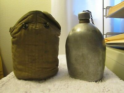 WWI, WW1 U.S., Early Type Aluminum Canteen w/Cover