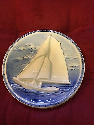 Vintage Erphila Blue White Sailboat Made In Germany Plate Wall Hanging