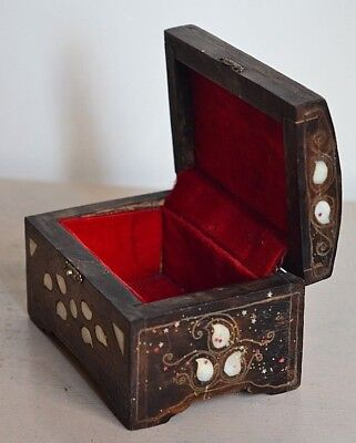 Antique Ottoman jewelry box decorated with shell , handmade very rare