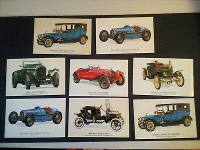 8 Vintage Coloured Car Postcards By Collectors Reproductions.