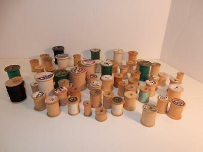 Antique Vintage Sewing Spools Wood Wooden Spool Lot Coats And Clark Fairloom