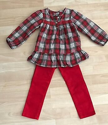 Girls 3T/4T Carter's Plaid Top Shirt & Crazy 8 Red Pull On bottoms Pants