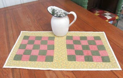 """Pure Country! c 1880s Checkerboard ANTIQUE 26"""" x 15"""" Table Quilt Runner"""