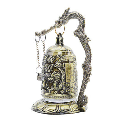 Retro Vintage Bronze Lock Dragon Carved Buddhist Bell Chinese Crafts Antique TL