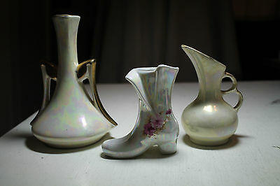 lot 3 vtg bud flower vases victorian shoe figurine two finger handle