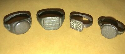 4 Unidentified Ancient Roman Byzantine Medieval Rings Good Details RARE