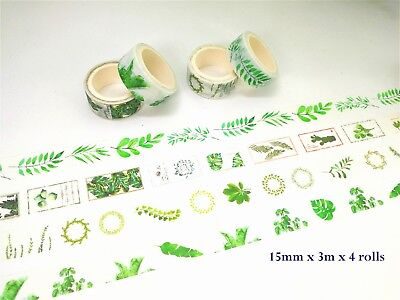 Washi Tape 4 Rolls Grasses and Leaves MT265