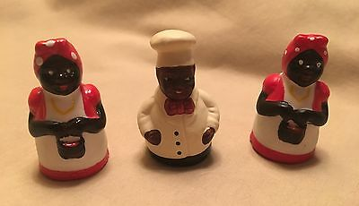 Vintage Mammy (2) And Cream Of Wheat Chef(1)  Black Americana Thimbles