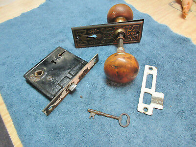 Antique Victorian Cast Metal Door Wood Knob Set  Knobs~Plates~Mortise~Striker