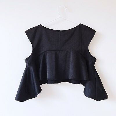 Pizzuto Black Silky Crop Top Size 10 ***NEW WITH TAGS***