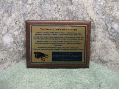 Personalized Gift Police Officer or Sheriff Deputy Prayer Custom Plaque Award