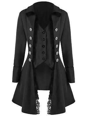 Victorian Black Trench Womens long Coat Jacket Buttons MIlitary Goth Steampunk