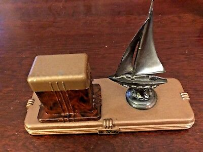 Antique 1930's Art Deco Gregory Fount-O-Ink Sailboat Inkwell