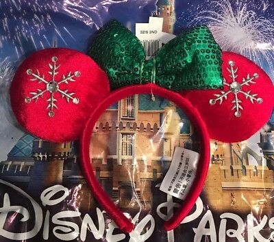Disney Parks Red Snowflake Holiday Minnie Ears Headband Christmas 2018 New