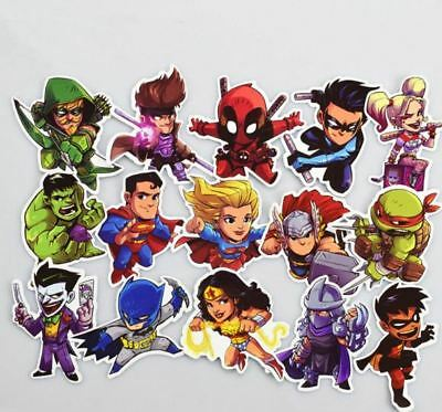 50 Funny Super Hero Skateboard Stickers Laptop Car Luggage Decals Dope Sticker
