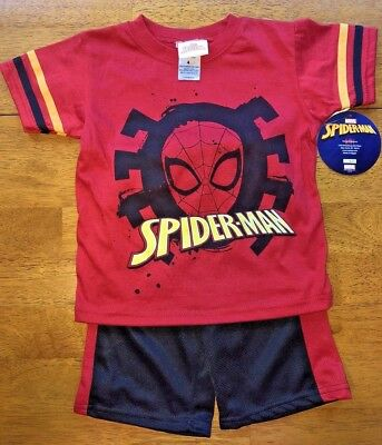 Marvel Spiderman 2-piece Boys Outfit Size 4 Top Shirt with Shorts New with Tags