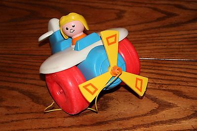 Vintage Fisher Price Pull Toy (#171) - airplane with pilot, Collectible