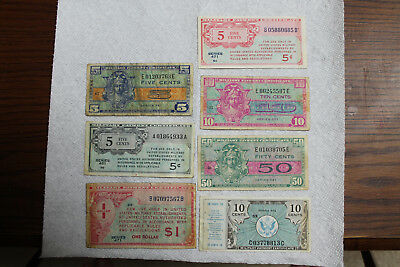 USA Military Payment Certificates (MPC), 7 total, Series 461-521, 5C/10C/50C/1$