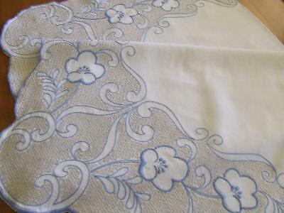 Lovely Large Hand Embroidered Vintage Tablecloth - Blue Floral & Cross Stitching