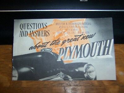 Questions & Answers About the Great New Plymouth Automobile Booklet 1949 OREGON