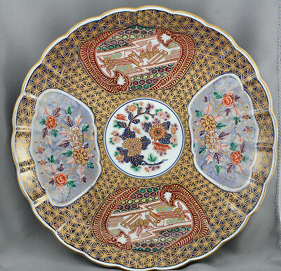Superb Vintage Japanese Imari Hand Painted Porcelain Very Large Charger Signed