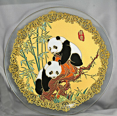 Spectacular Vintage Chinese Large Panda Charger Made Of Gold & Glass Boxed