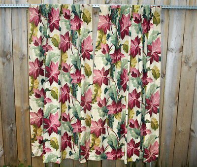 Pr Vtg Art Deco Barkcloth Era Curtain Panels MOANA Tropical Banana Leaf Fabric