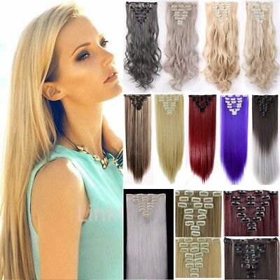 100% Mega Thick Clip In Hair Extensions Long As Human Full Head Hair Extention L