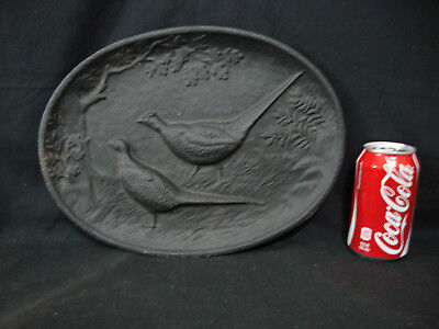 Vintage The Dotson Company Large Cast Iron Pheasants Oval Wall Decoration Plate