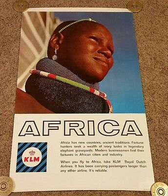 Original 1960's Dutch KLM Airlines Africa Poster, Rolled,  25×40