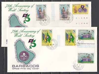 Barbados, Scott cat. 589-592. 75th Scout Anniversary. Gutters, First day covers