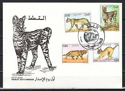 Algeria, Scott cat. 801-804. Wild Cats issue. First day cover