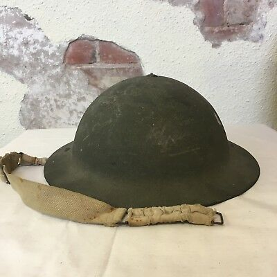 Vintage Australian Army Infantry Man's Issue Metal Hard Hat WWII 1941