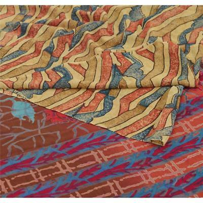 Sanskriti Vintage 100% Pure Georgette Silk Saree Multi Color Printed Sari Craft