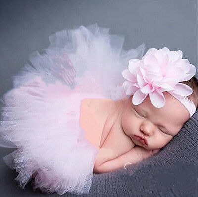 Newborn Baby Kid Girl Flower Headband+Tutu Skirt Photo Costume Prop Cute