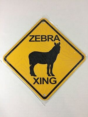 "ZEBRA Metal ZOO Crossing Sign 6""x6"" (NEW)"