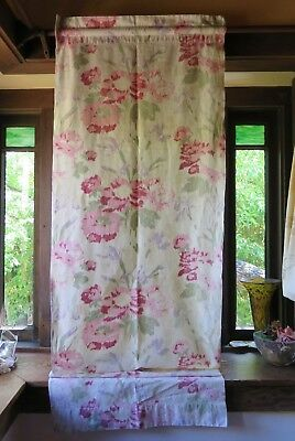 "Vintage Ikat Cotton Curtain Panel in Rose Floral 74"" x 24"""
