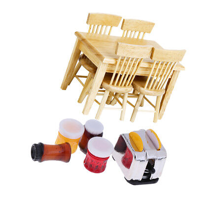 Doll House Miniature Kitchen Furniture Wooden Table Chairs & Foods for 1:12