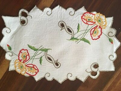 Pretty vintage linen embroidered Poppies Cutwork Centrepiece Doily Craft or Use