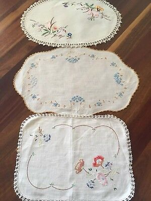 3 Pretty spring flowers Vintage Linen Embroidered large Doilies Craft or Use