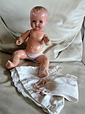 alte A.S. Germany Puppe Massepuppe 40cm german doll Babypuppe glass eyes
