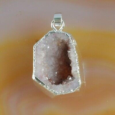 Uneven Natural Agate Druzy Geode Cave Pendant Bead Silver Plated T068542