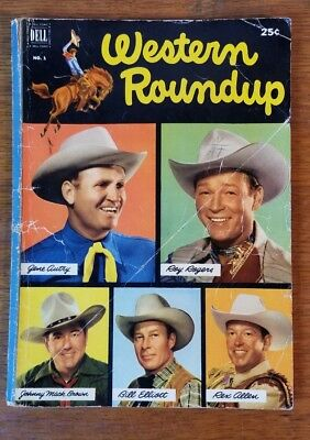 Western Roundup Comic Book, Issue #1 (Jun 1952, Dell) Roy Roger's, Gene Autry +