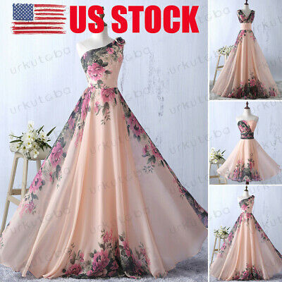 US Womens Floral Evening Party Ball Prom Gown Formal Cocktail Wedding Long Dress