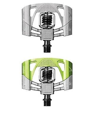 Crank Brothers Mallet 2 Raw Pedals - Green / Silver - 15987/15986 New
