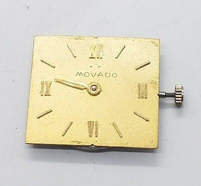 Vintage Movado Factories Manual Wind Gold Face Swiss 17 Jewels Watch Movement