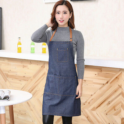 Apron Pinafores Distressed Unisex Convenient Fashion Adult Cooking Solid Jeans