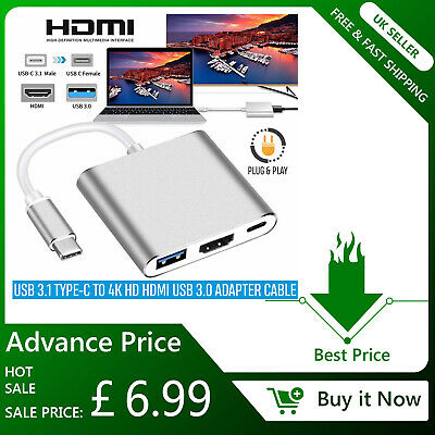3-in-1 USB Type C to HDMI Adapter with USB 3.0 and USB-C Charging Converter