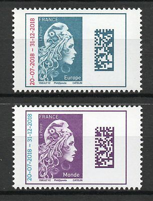 Paire De Timbres  Neufs Xx Luxe Marianne L'engagee Surchargee Europe+Monde