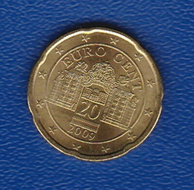 "Austria: 20 Euro Cent, 2009, Brass  UNC - features beautiful ""Belvedere Palace"""